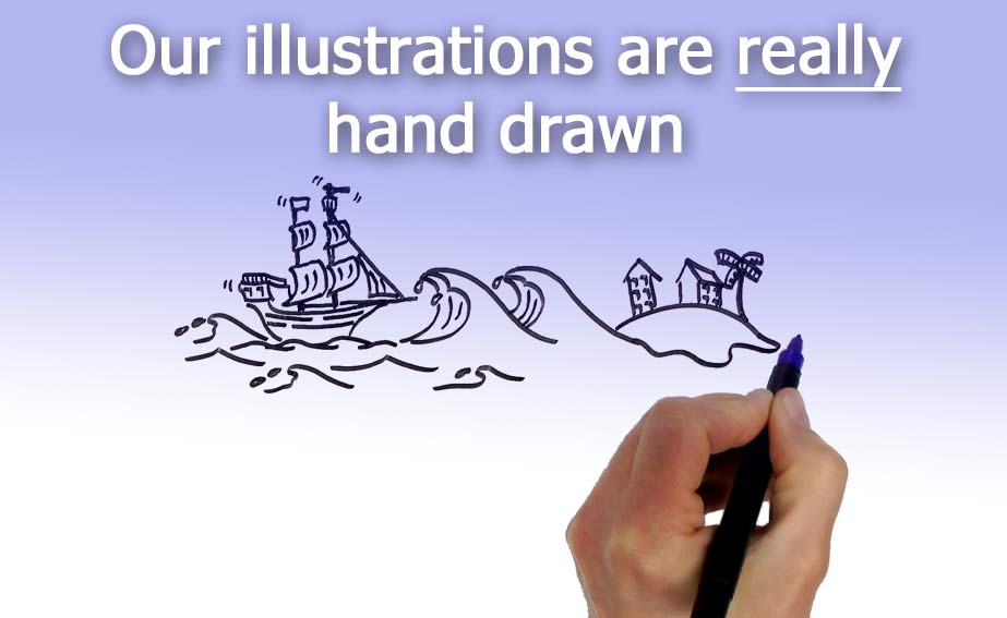 Our Speed Draw cartoon illustrations are really hand drawn